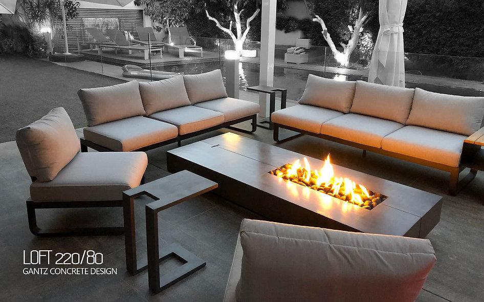 גנץ שולחן אש מבטון סטון דגם לופט 220/80.