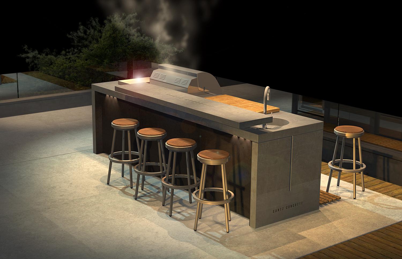 גנץ, מטבח חיצוני דגם באנדר 315 אורך 90 רוחב