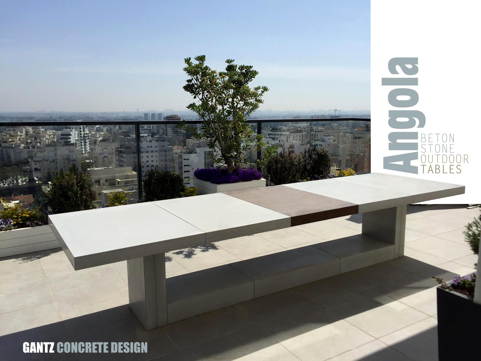 שולחן חוץ מבטון סטון לבן לאירוח בחצר או במרפסתגנץ -