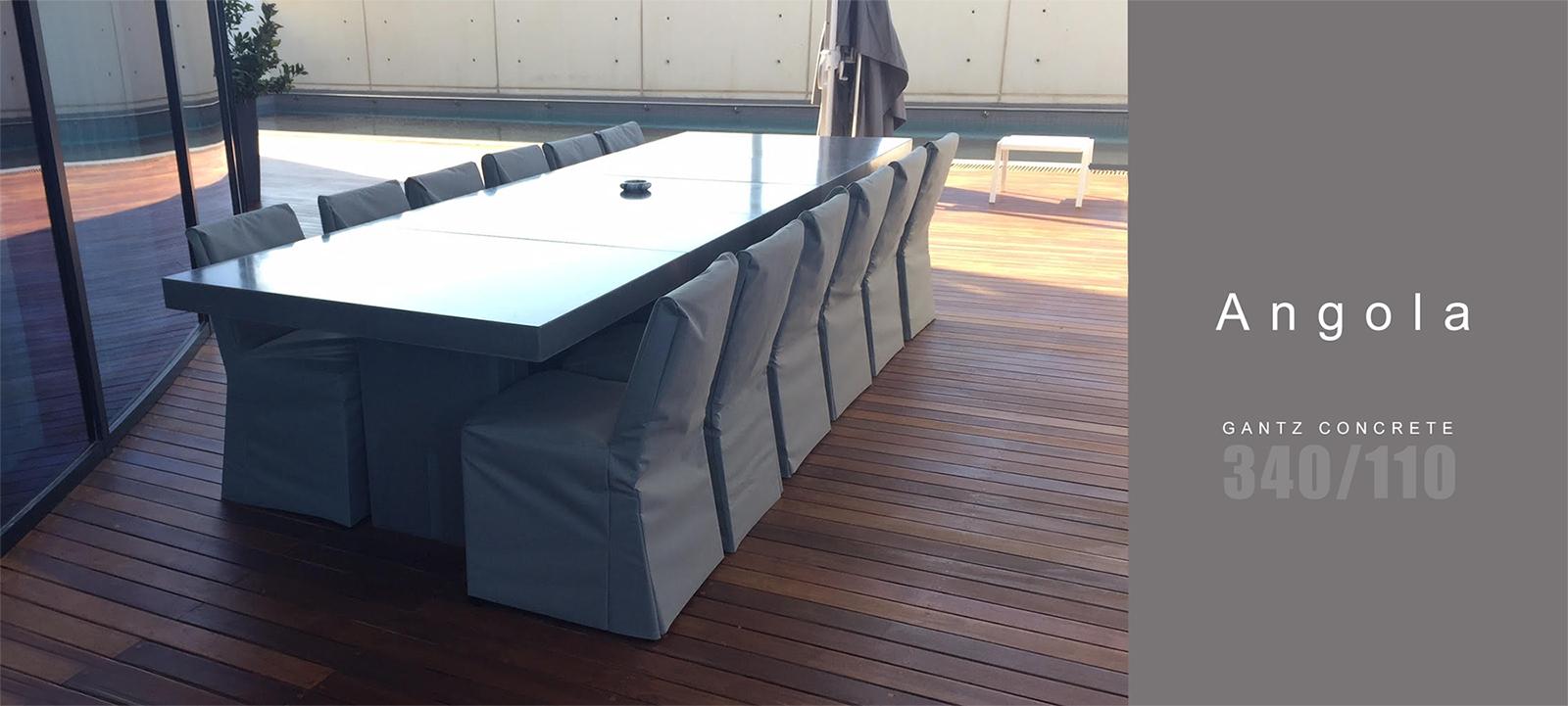 גנץ קונקריט - שולחן אירוח חיצוני לגן/לחצר דגם אנגולה