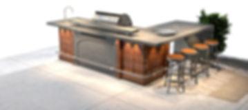 מטבח מעוצב בסגנון קלאסי-מודרני המשלב ישיבה חצי גבוהה