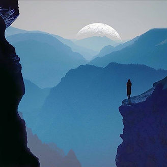 Woman Gazing into a Canyon Enveloped in Blue Mist As the Moon Peaks Out Over the Horizon