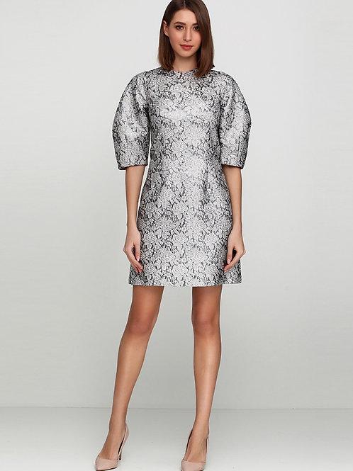 Жакардова сукня з рукавами буф