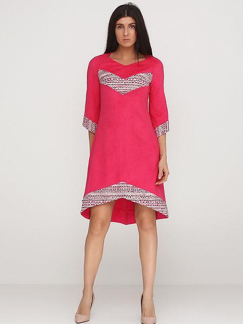 Сукня з малинового екозамшу з малетом