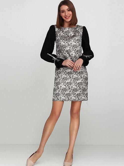 Нарядна сукня жакардова з рукавчиками гофре