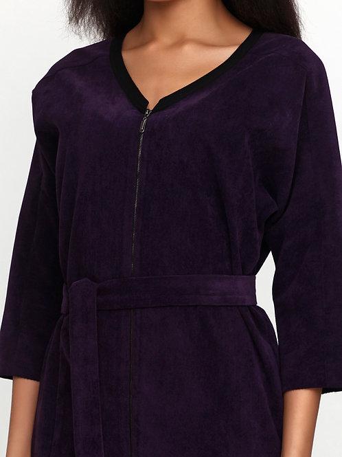 Сукня-кардиган фіолетова з паском в комплекті