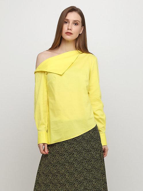 Асиметрична жовта блузка