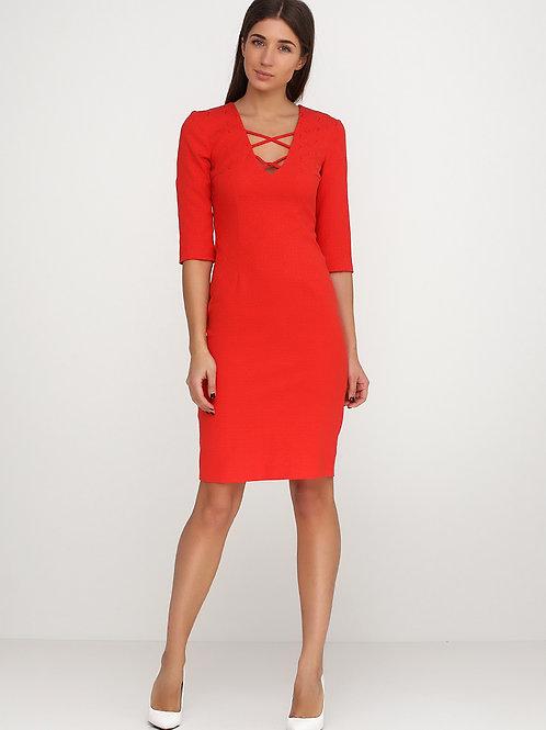 Сукня-футляр жакардова  червоного кольору