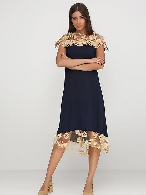 Вишукана синя сукня з золотим шифоном 3D