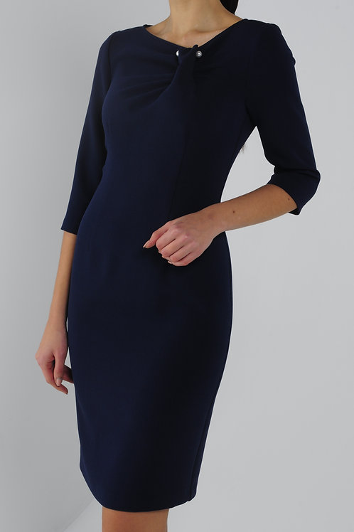 Сукня-футляр синя з брошкою
