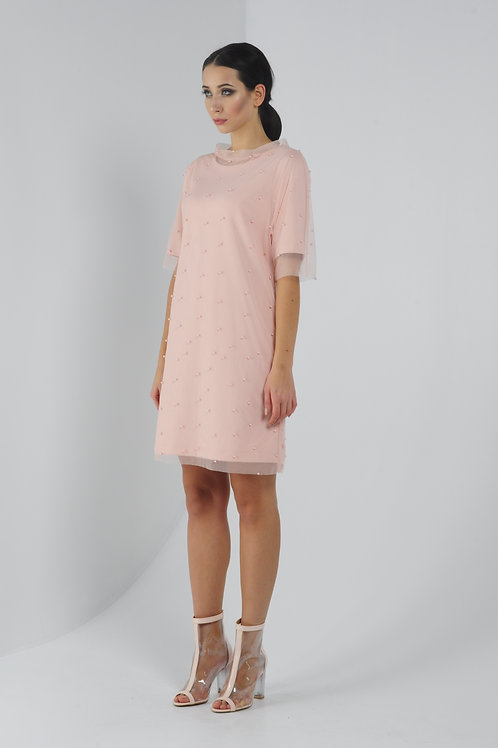 Сукня з накидкою-сітка в перлинки