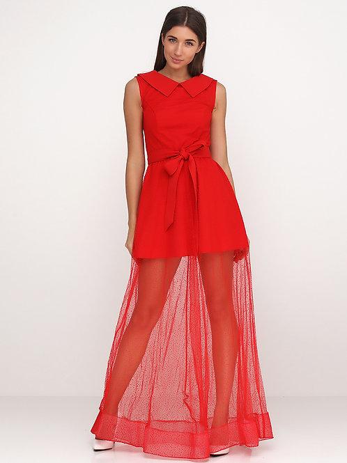 Святкова сукня з євросіткою флок червоного кольору