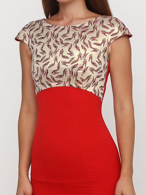Сукня-футляр червона з жаккардовою вставкою
