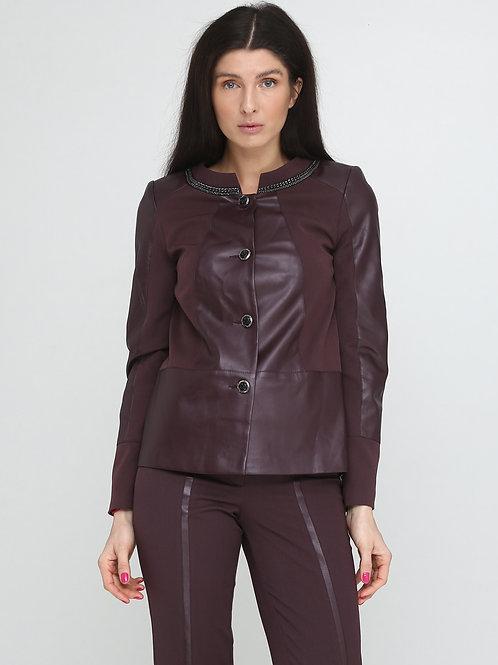 Куртка-трапеція марсалова екошкіра
