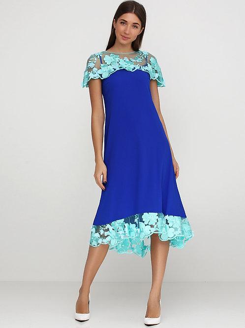 Вишукана святкова сукня електрик з бірюзовим шифоном 3D