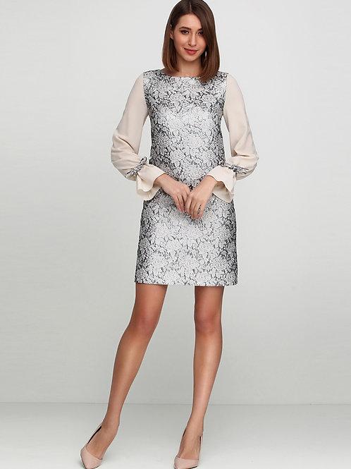 Нарядна жакардова сукня з шифоновими рукавами