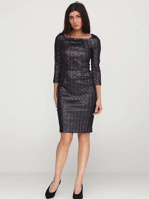 Сукня з елегантним вирізом та сріблястим люриксом