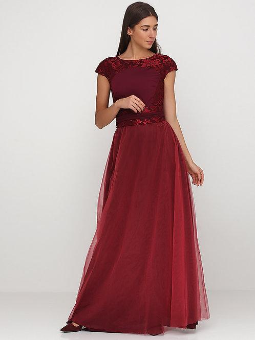 Святкова сукня марсалова с гіпюром та корсетним паском