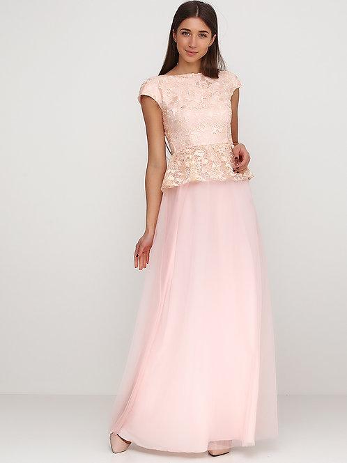 Вечірня сукня з баскою та гіпюром пудрового кольору