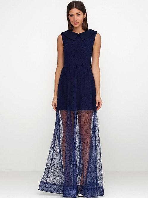 Святкова сукня з євросіткою флок синього кольору