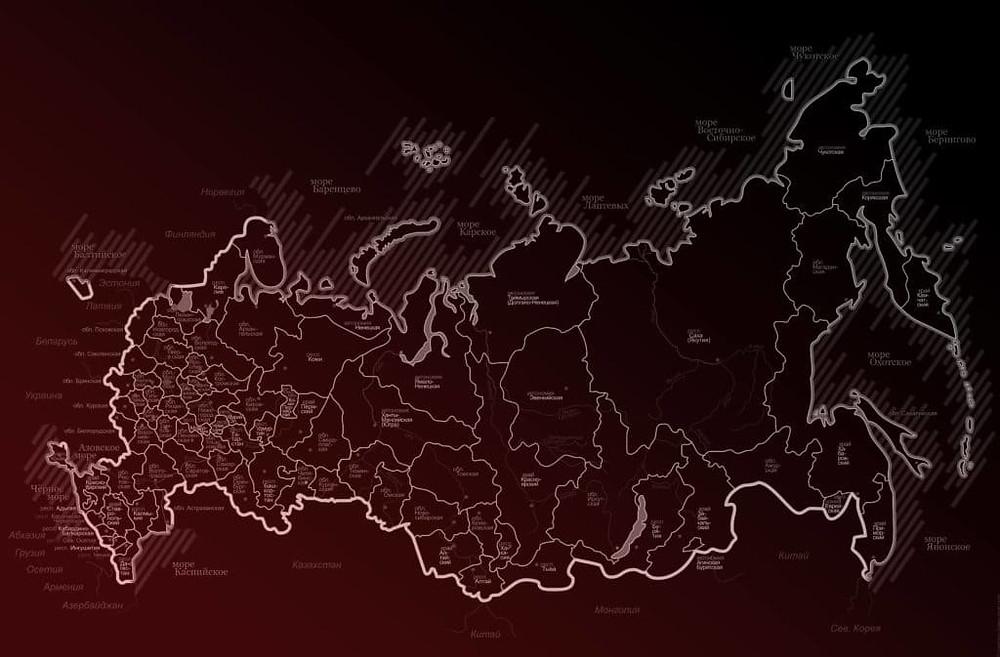 карта россии. административное распределение субъектов российской федерации