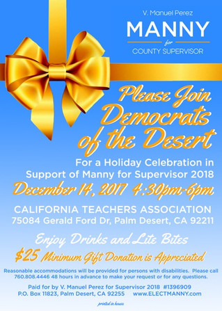 Join Democrats of the Desert in Support of V. Manuel Perez -Save the Date!