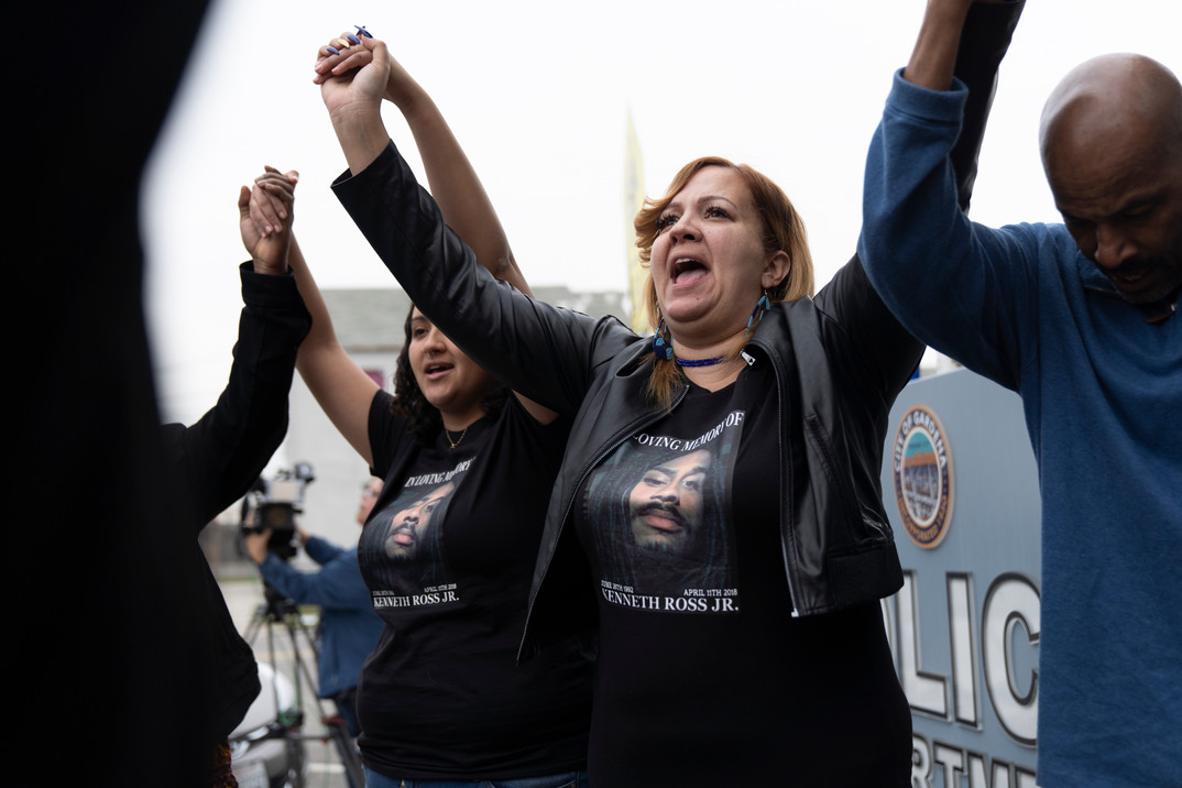 Fouzia Alamarou demands justice for her dead son, Kenneth Ross Jr..  Ross was killed by Gardena police in April of 2018 when he was a suspect in a shooting that occured on the 13200 block of Van Ness Avenue.