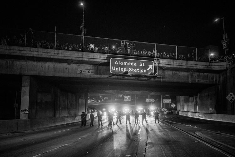 On November 9th, 2016, protests erupted in Los Angeles after Donald Trump was elected President of the United States.  The 101 highway was shut down for hours until police arrived and cleared the scene.