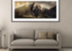 An art photographic print taken of a mountain peak