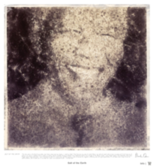 An monochrome art portrait of Nelson Mandela created by using salt crystals