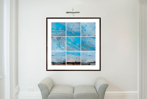 A popular limited edition abstract fine art print in a beautiful wood frame on a wall in a modern interior.
