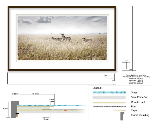Specifications to a specialised picture framing method used by th art photography gallery