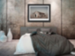 A photograph of an abandoned shed in the desert in a frame in a modern bedroom interior