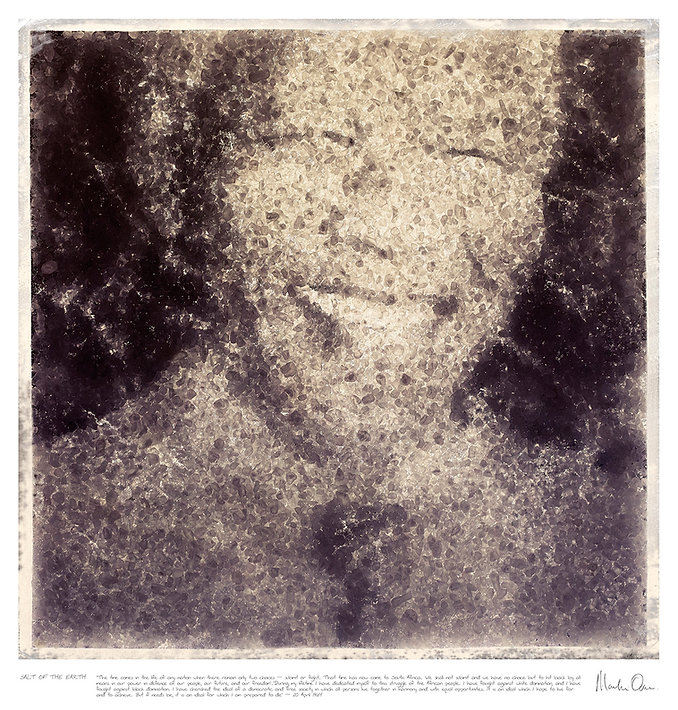 A creative black and white portrait of Nelson Mandela made from salt by Fine Art Photographer Martin Osner