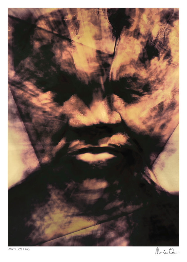 A creative portrait of Nelson Mandela depicting an abstract impression of his face made up from other faces