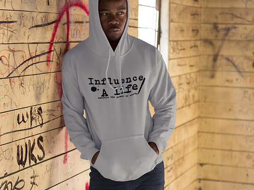 Influence A Life BLK letter on Grey pull over