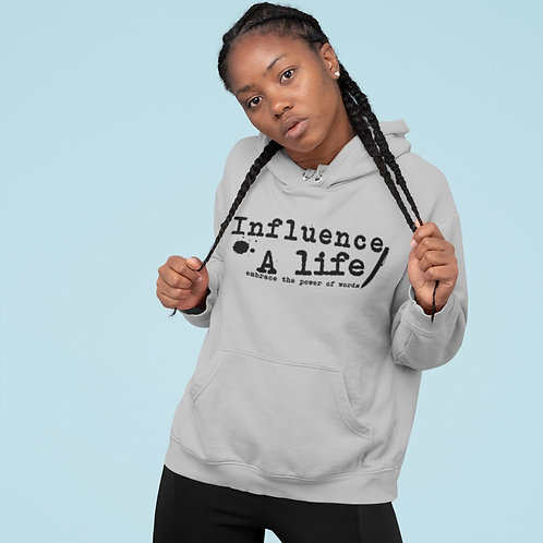 Influence A Life BLK letter on Grey pull over Female