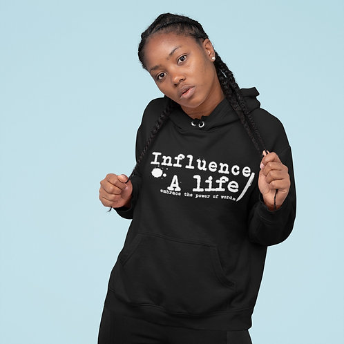 Influence a Life Wht letter on BLK pullover Female