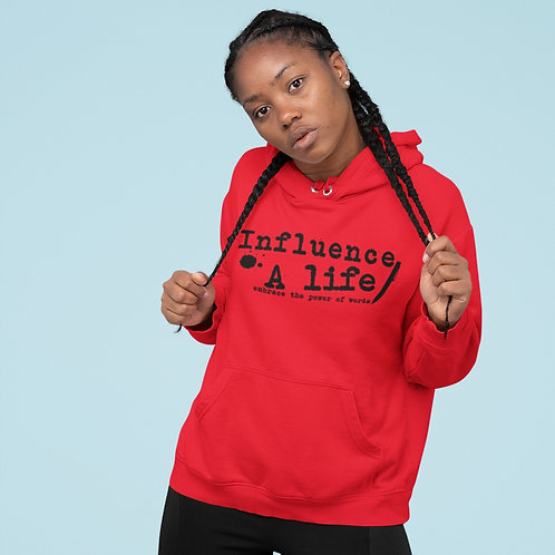 Influence A Life  BLK letter on Red pull over Female