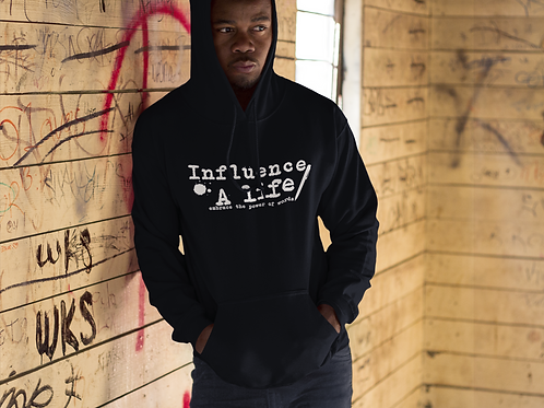 Influence a Life Wht letter on BLK pullover