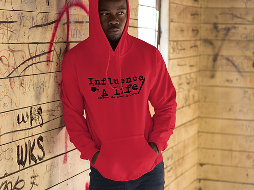 Influence A Life  BLK letter on Red pull over Male