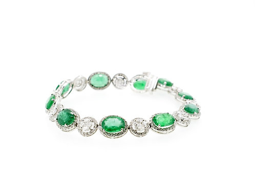 Emerald and Marquise Diamond Bracelet