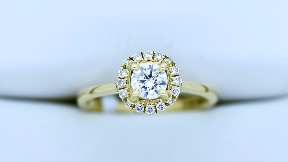 Round Halo Yellow Gold without Shoulders