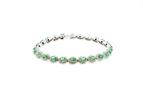 Small Emerald Single Halo Bracelet