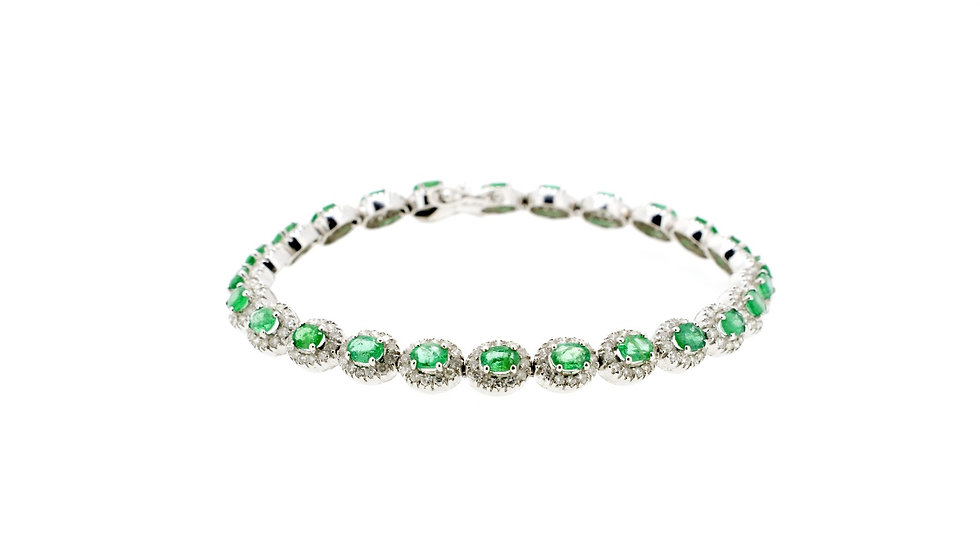 Small Emerald Single Halo Bracelet