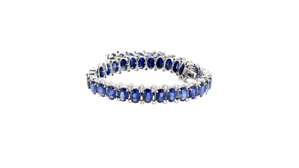 Oval Blue Sapphire with Diamonds Bracelet