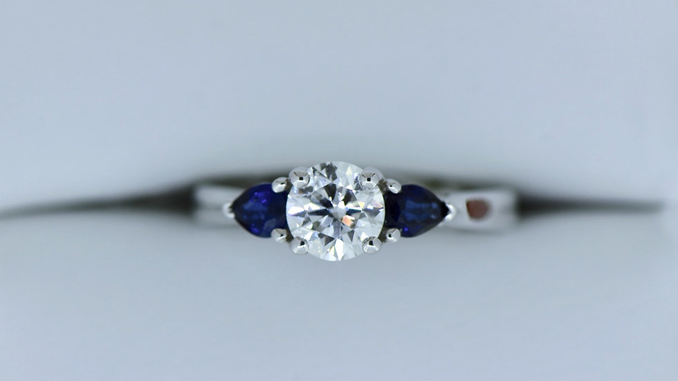 Three Stone ring Pear shape Blue Sapphire