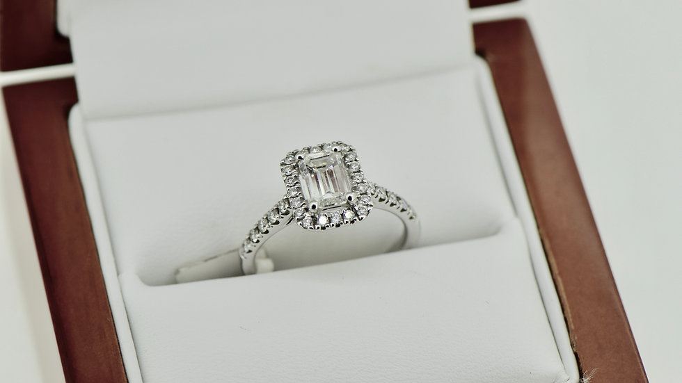 Emerald Cut Micro Set Diamond Halo Ring
