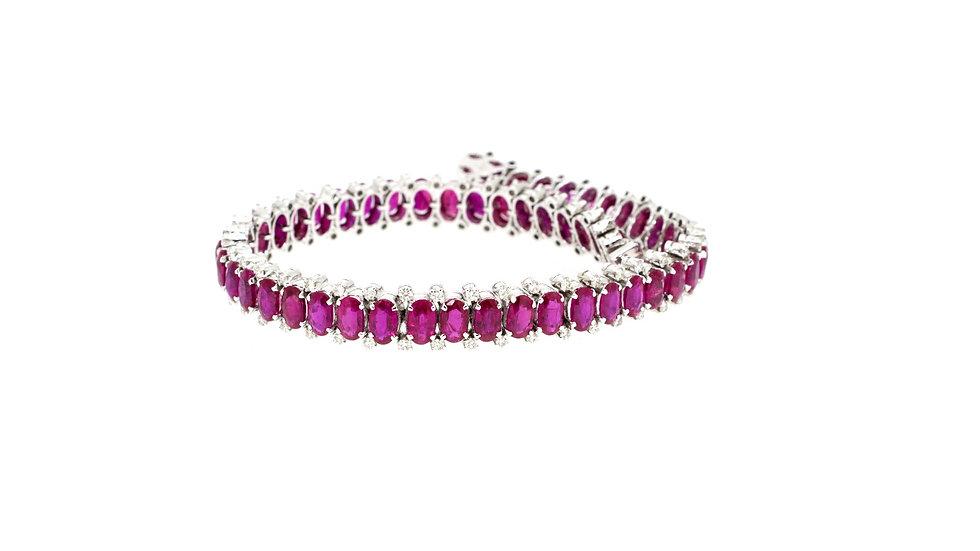 Oval Rubies with Diamonds Bracelet