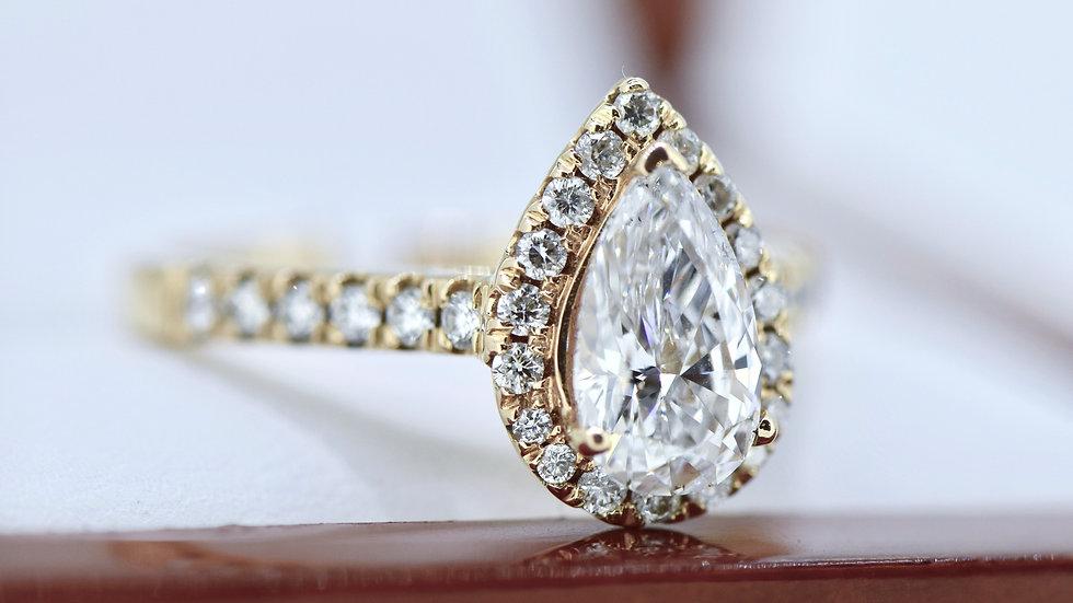 Pear Shape Rose Gold Halo Ring